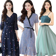 【14th NEW】Premium Dress Korean style Slim lace Chiffon dress/Plus size Dresses/Beach skirt/suit
