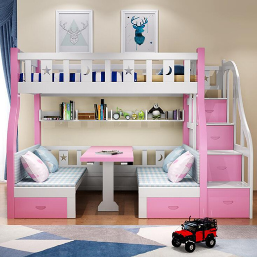 Qoo10 Bunk Beds With Desk Multi Functional Combination Modern Girls Get Up A Kids Fashion