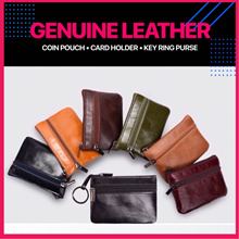 💥Vintage Genuine Leather💥Small Zipper Coin Pouch Card Holder Wallet Key Chain Purse