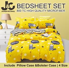 [October New design] 800 TC High Quality Microfiber bedsheet [Single/Super single/Queen/King] For 4