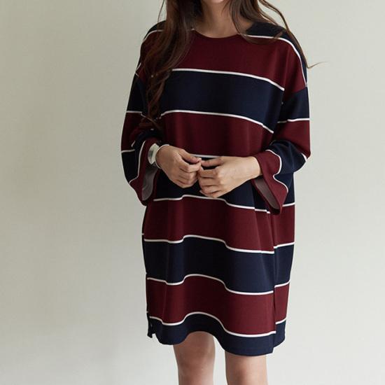 オーサムミルレタ・ストライプパクシワンピース231712G 綿ワンピース/ 韓国ファッション