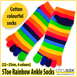 [Citrusox] Women Rainbow Ankle Toe Socks