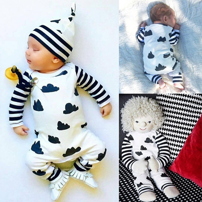 a11d72ce2fb Newborn Infant Baby Girl Boy Clothes Striped Bodysuit Romper Jumpsuit  Outfits ( not include hat )