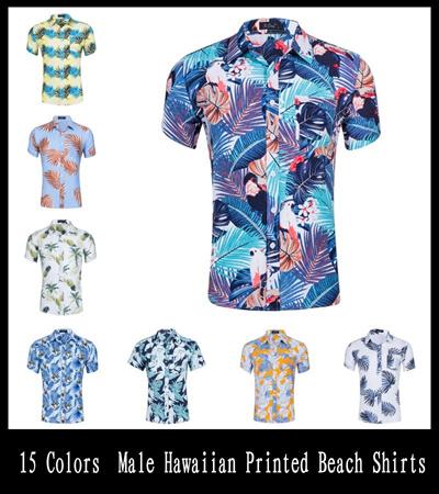 0ba5a365034 15 Colors New Fashion Short Sleeve cotton Hawaiian Shirt Men Summer Casual  Floral Shirts Men Short