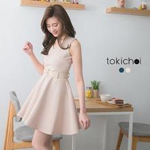 MAYUKI - Sleeveless Dress with Waist Belt-6012584