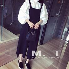 Siamese clothing spring/summer women s new Korean fashion cropped wide leg straps chiffon jumpsuit s