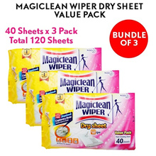 Magiclean Wiper Dry Sheets ( Bundle of 3 x 40s Dry Sheets ) ★ Total 120 Sheets. Made In Japan. Kao