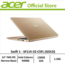 [Online Exclusive] Acer Swift 1 SF114-32-C5FL (Gold) Thin and Light Narrow-Bezel Display Laptop