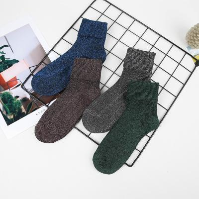 Fashion shining socks lurex autumn winter thickened knitted thermal women  brand long harajuku boot 93666b92c913