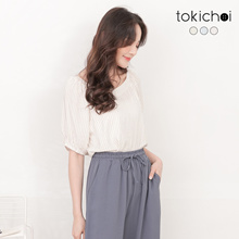TOKICHOI - V-Neck Striped Sleeve Top-191216