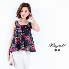 MAYUKI - Sleeveless Swing Top In Floral Print-6018520-Winter