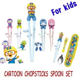 Children Cartoon Practice Chopsticks Spoon set/Baby Kid Learning Chopstick/Children Learning Training Chopsticks for Right handed