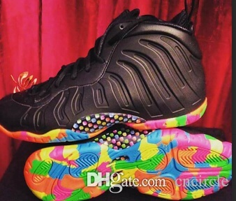 6bb7d262eac 2016 Foam One Black Fruity Pebbles Cereal GS PS TD women and big boy  basketball shoes