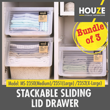 Bundle Of 3 ♦ Stackable Front Sliding Lid Drawer ♦ 3 Sizes - M/L/XL ♦ Front Opening ♦  Most Popular