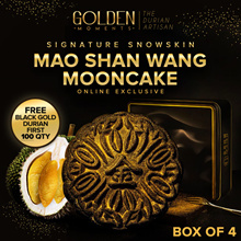 Signature SnowSkin Mao Shan Wang Mooncake (Box of 4) Free 300g Black Gold Durians for 1st 100
