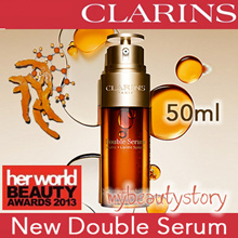 QOO10 SUPPORT! FREE CLARINS POUCH! CLARINS DOUBLE SERUM 50ml!