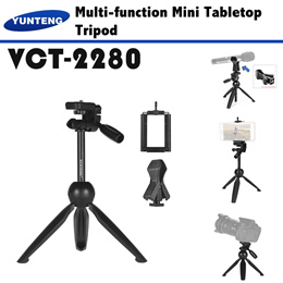 YUNTENG VCT-2280 Mini Tripod Selfie Stick For Live Streaming Microphone DSLR Camera