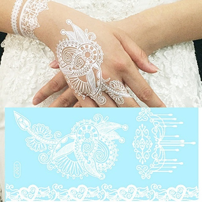 Qoo10 1pcs White Lace Bridal Henna Tattoo Shoulder Arm Waterproof