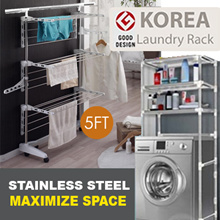 [Stainless Steel]★★ 5 FT 3 Tier Drying Clothes Rack★Collapsible ★Easy Assemble ★ INSTOCK SG