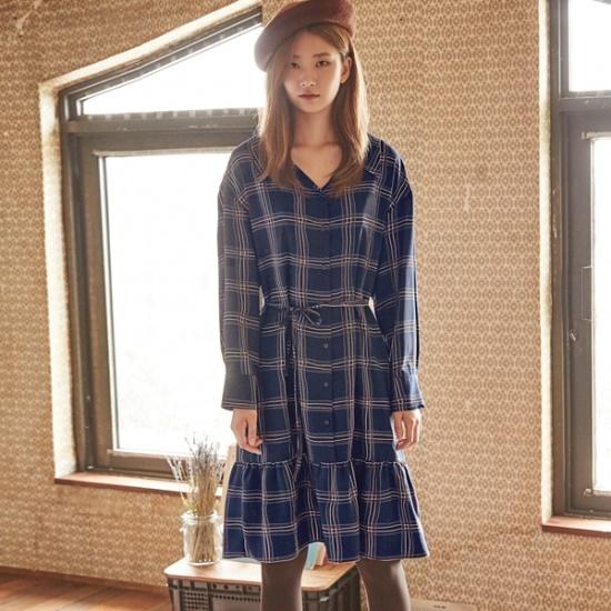 ナインNAINワイドゥネクチェックワンピースSOP3361 面ワンピース/ 韓国ファッション