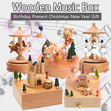 Wood Music Box carousel ornament boutique DIY Wooderful Life Perfect for Christmas Gift Present
