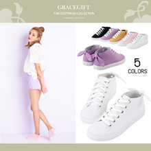 Gracegift-Classic Ankle Height Ribbon Sneaker/Women/Ladies/Girls Shoes/Taiwan Fashion