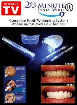 20 Minute Dental White RX Teeth Whitening Kit with Led Light Personal Tooth Gel Whitener Health