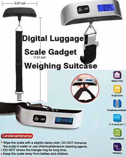 Portable Digital Luggage Scale Gadget Weighing Suitcase 110lbs Pounds with Temperature Sensor