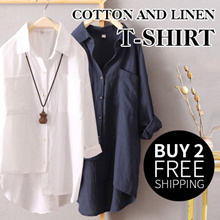Special promotion、only for this day、Womens long sleeves short long linen cotton blouse loose shirt spring and autumn