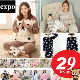 Winter womens flannel pajamas long sleeves thicken suit set sleepwear【29 design】
