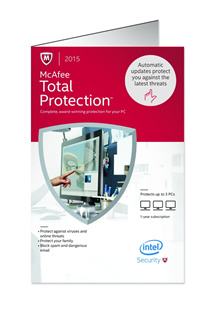 McAfee Total Protection 2018 for 3PCs for 1 year protection - activation code license