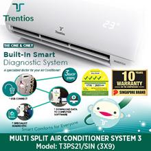 TRENTIOS System 3 Aircon [T3PS21/SIN 21000BTU / T4PS28/SIN 28000BTU] Multi Split Combination