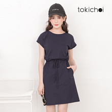 TOKICHOI - Shoulder Slope Drop Drawstring Dress-191217