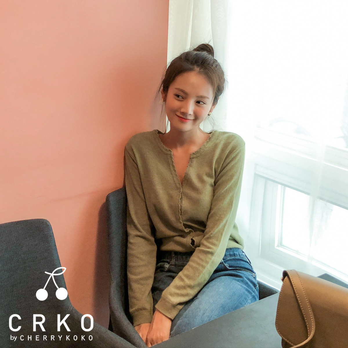 [CHERRYKOKO官方旗艦店]素色花邊針織衫
