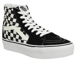 4624b3a472e 반스 Vans Sk8 Hi Platform 2.0 Trainers Black White Checkerboard