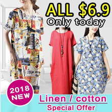 ★Price Down For Super Sale★Real Flat Price!!【Buy 3 Free Shipping】2018 new arrival cotton and linen short sleeved dress pants skirt shawl
