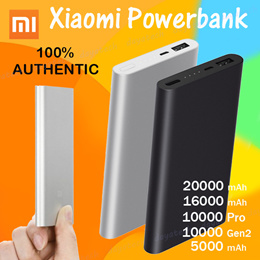 100% Authentic Xiaomi Powerbank ◇ Mi Power Bank Portable Battery Charger 20000 10000 5000mAh