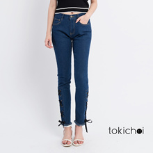 TOKICHOI - Mid-wash Jeans with Laced Detail-171130