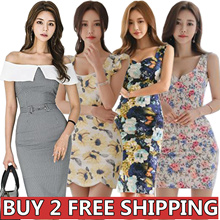 Korean Slim Sexy skirt/evening dress/Banquet dress/Cocktail dress/High-end/Wrap dress/Pack hip dress