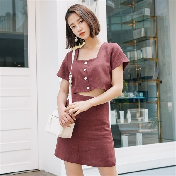ロコ・シックスlinen square setツーピースnew 無地ワンピース/ワンピース/韓国ファッション