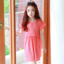 Baby Girl Summer Cute Bow Red Cotton Princess Dress 4-15Y Kids Dress Baby Girls Clothing 2017 New