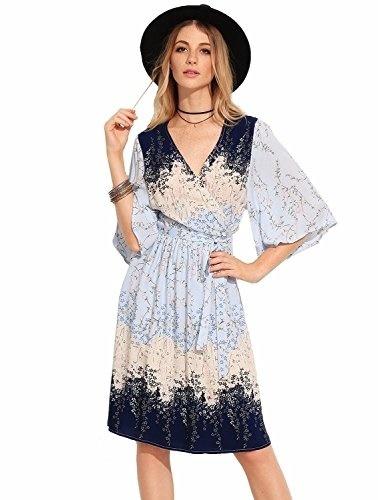 c48e2ea673b5f Milumia Women s Boho Deep V Neck Floral Chiffon Wrap Split Long Maxi Dress-