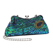 MG Collection Hand Beaded Sequined Peacock Design Green Purse Evening Bag 06cae420c9cb0