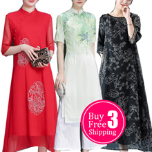 【May 19th update】2018 NEW CheongSam / Qipao / Traditional Ethnic Embroidery SILK DRESS /PLUS SIZE