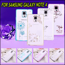 New Diamond Luxury Transparent Phone Casing Back Case Beautiful Design Cover Cases for Samsung Galaxt Note4 Note 4 Covers