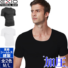 [New product] EXIO pressure shirt short sleeve crew neck men's all two color ML pressure inner men's underwear golf pressure inner pressure t-shirt pressed shirt t-shirt inner