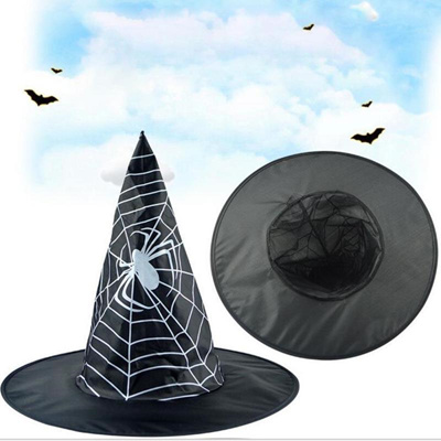 19ec23ad675 1PC Halloween Spider web witch hat hats black festival ghost web cap  cosplay decorative Hats 3