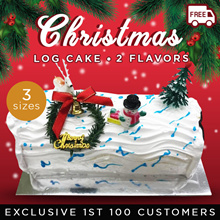 CHRISTMAS LOG-CAKES-0.55KG/1.0KG/1.5KG [Qoo10 Exclusive for 1st 100 Customers]