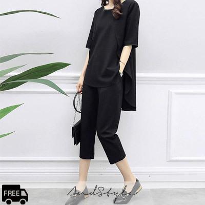 [AndStyle官方旗艦店] 簡單風格黑色套裝 上衣+褲子 235810