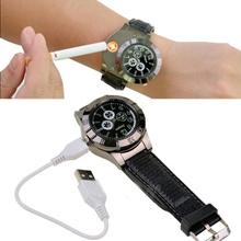 Luxury Brand Casual USB Rechargeable Light Cigarette Watch Mens Sports Quartz-Watch/Lighter Watch